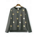 Grey Gold Star Print Long Sleeves Sweatshirt