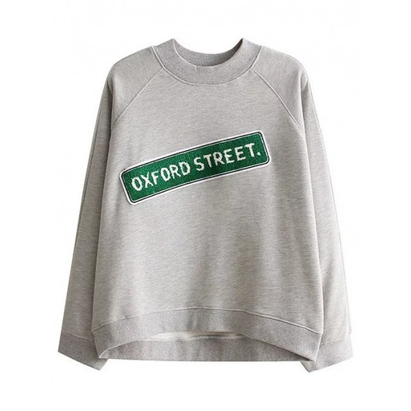 Grey Green Oxford Street Long Sleeves Crew Neck Sweatshirt