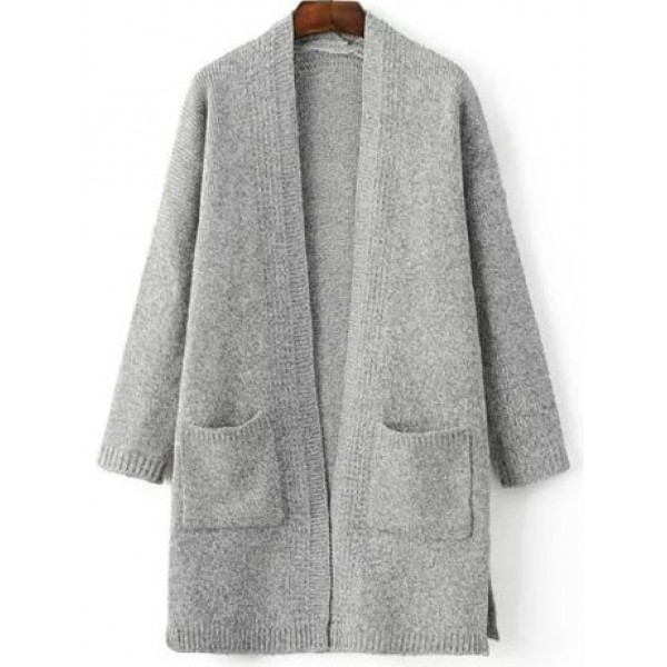 Grey Long Sleeves Split Side Pocket Sweater Coat