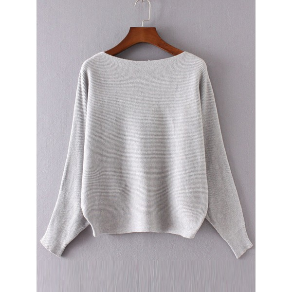 Grey Loose Boat Neck Batwing Long Sleeves Sweater