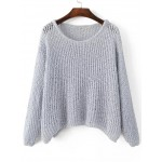 Grey Loose Long Sleeves Batwing Style Sweater