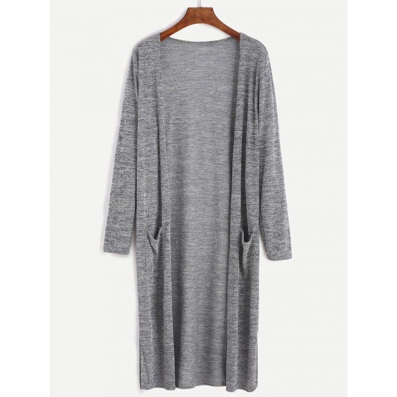 Grey Loose Open Long Pocket Cardigan Jacket