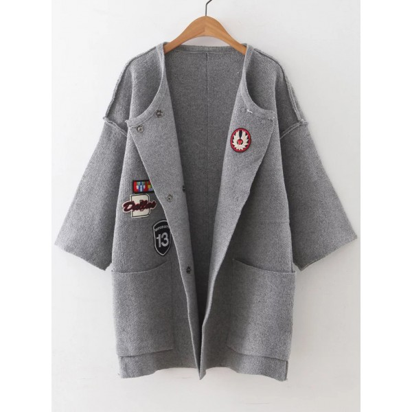 Grey Patches Embroidery Side Pocket Jacket Cardigan