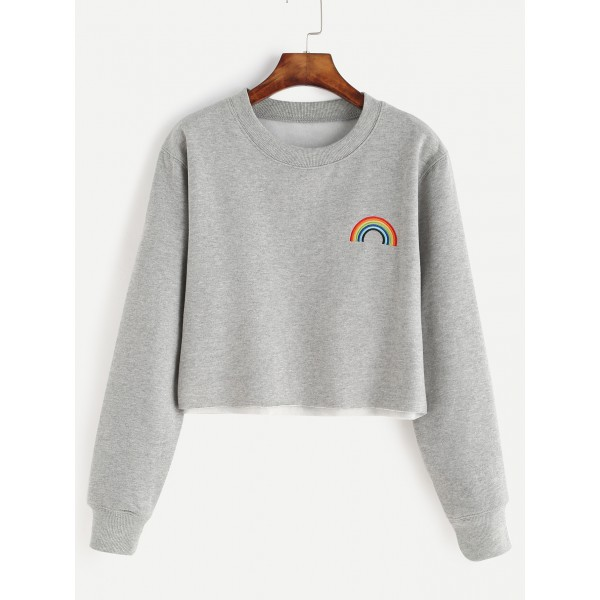 Grey Rainbow Embroidered Cropped Long Sleeves Sweatshirt
