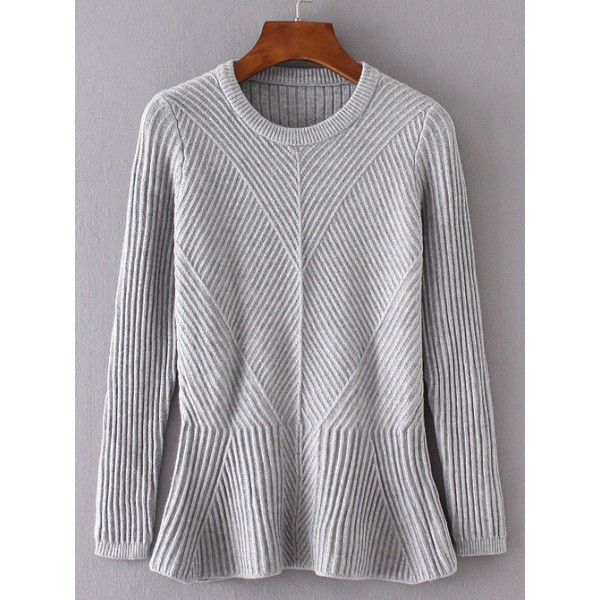 Grey Round Neck Ruffle Ribbed Casual Sweater
