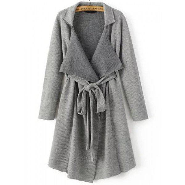 Grey Shawl Long Sweater Pocket Belt Coat