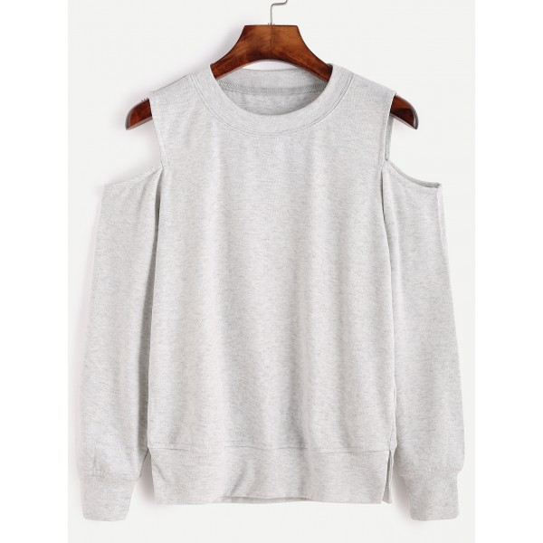 Grey Shoulder Cut-Out Long Sleeves Sweatshirt