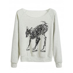 Grey Skating Deer Print Long Sleeve Sweatshirt