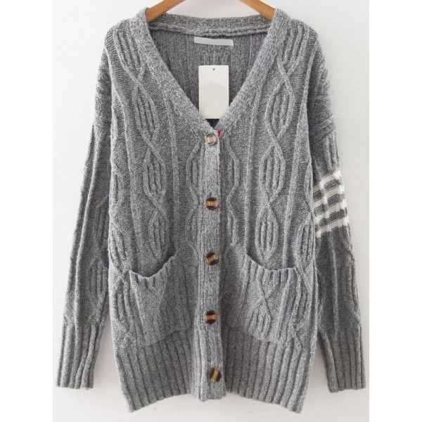 Grey Stitches Detail Button Up Coat Cardigan
