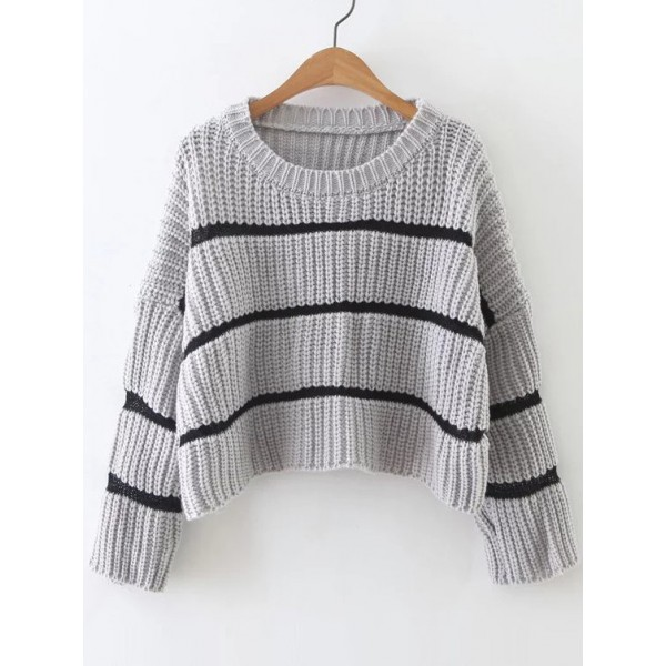 Grey Striped Lines Loose Shoulder Winter Sweater
