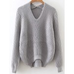 Grey V Neck Knitted Winter Sweater