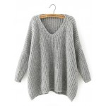 Grey V Neck Loose Batwing Long Sleeves Sweater Top