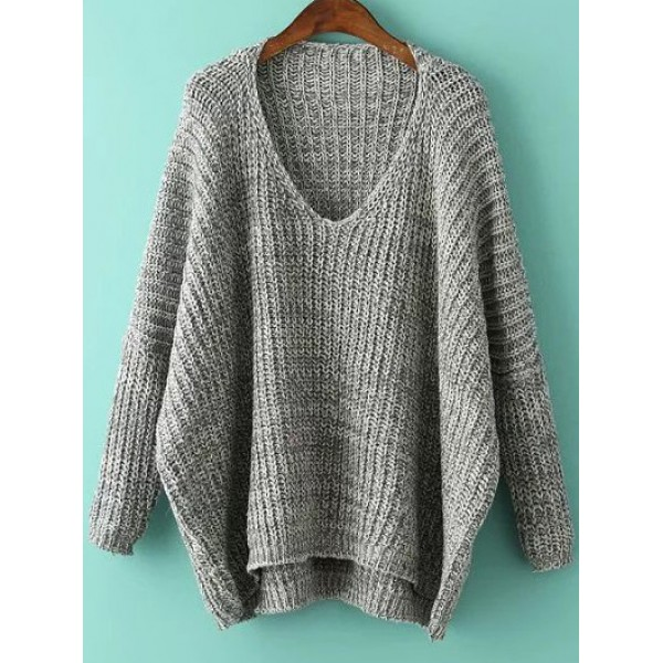 Grey V Neck Loose Batwing Long Sleeves Winter Sweater