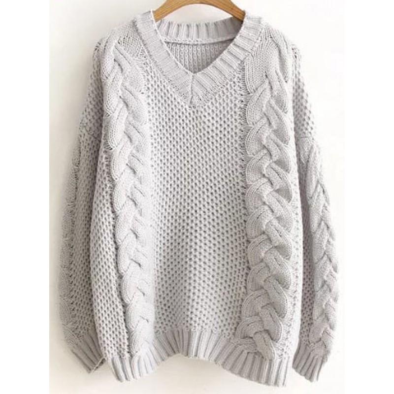 Grey V Neck Loose Knit Pattern Winter Sweater