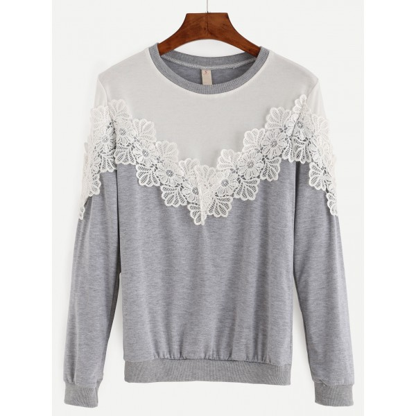 Grey White Lace Applique Long Sleeves Sweatshirt
