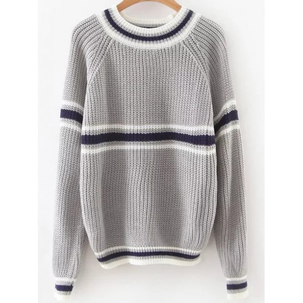 Grey White Stripes Lines Long Sleeves Sweater