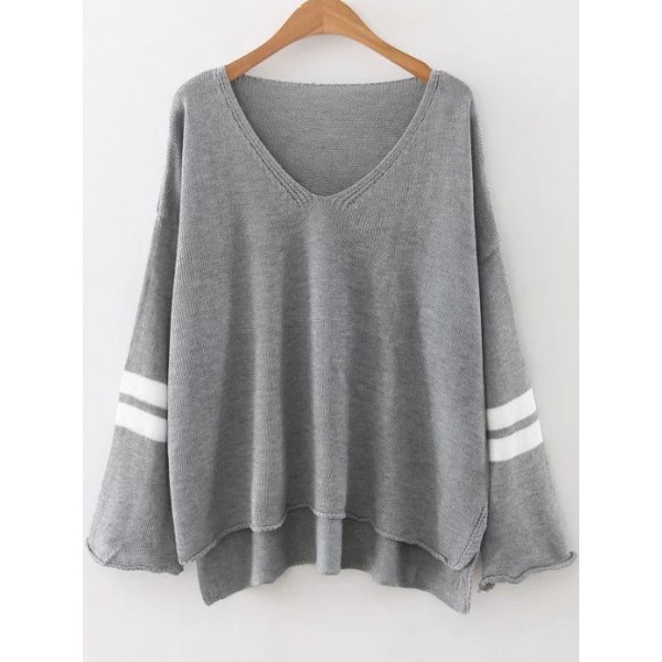 Grey White Stripes V Neck Loose Winter Sweater