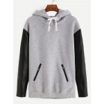 Grey Zipper Pockets PU Long Sleeve Hooded Hoodie Sweatshirt