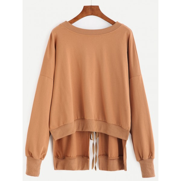 Khaki Back Slit Sexy Tie-Up Lace-Up Long Sleeves Sweatshirt