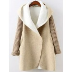 Khaki Brown Hooded Long Sleeves Open Sweater Coat