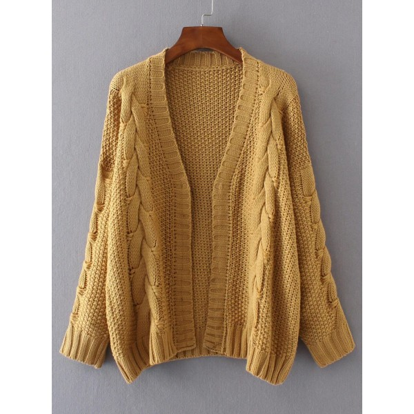 Khaki Knit Open Front Winter Cardigan