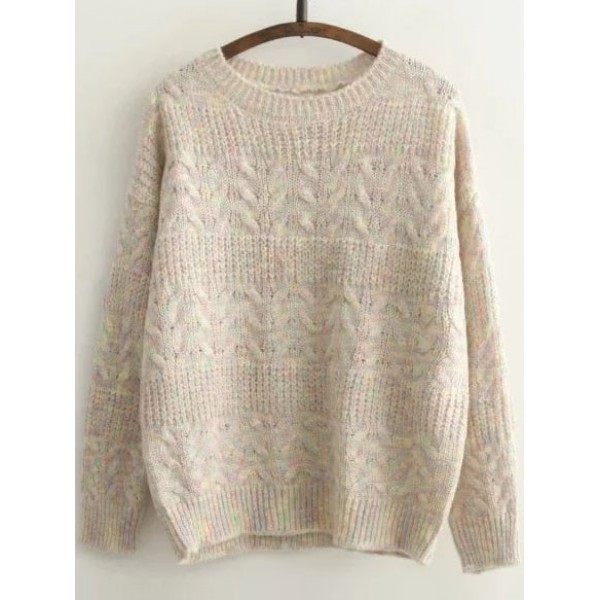 Khaki Knit Pattern Round Neck Drop Loose Shoulder Sweater