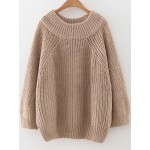 Khaki Ribbed Round Neck Loose Long Sleeves Winter Sweater