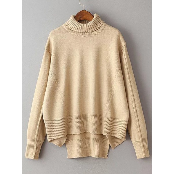 Khaki Turtleneck Dolman Long Sleeves Winter Sweater