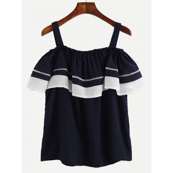 Navy Blue Off Shoulder Ruffle Tank Top Blouse