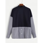 Navy Blue Turtle Neck Layered Long Sleeves Stripes Blouse Shirt