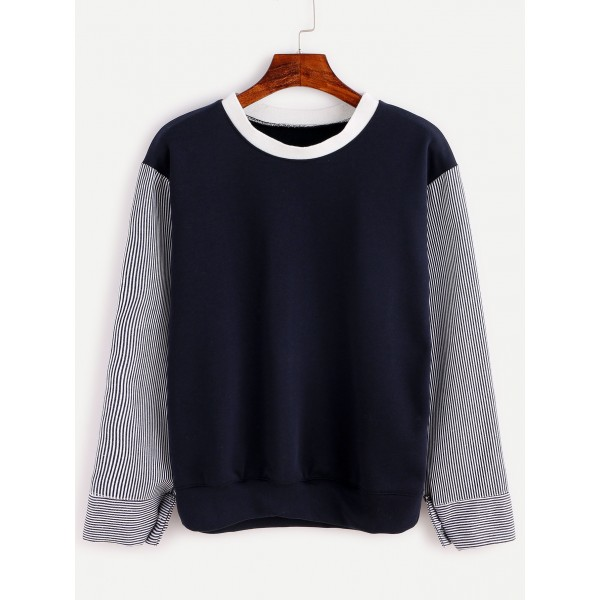 Navy Blue Vertical Striped Long Sleeves Sweatshirt