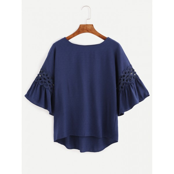 Navy Crochets Ruffles Bell Sleeves Blouse