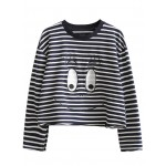 Navy Stripes Cartoon Eyes Embroidered Long Sleeves Sweatshirt