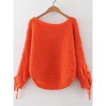Orange Striped Lace Up Long Sleeves Winter Sweater