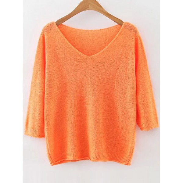 Orange V Neck Loose Ribbed Trim Sweater Knitwear
