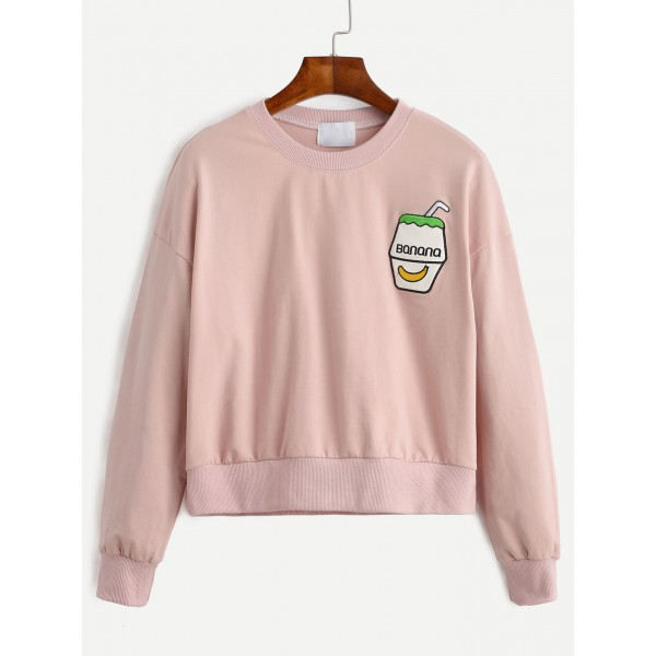 Pink Banana Milkshake Embroidered Long Sleeves Sweatshirt