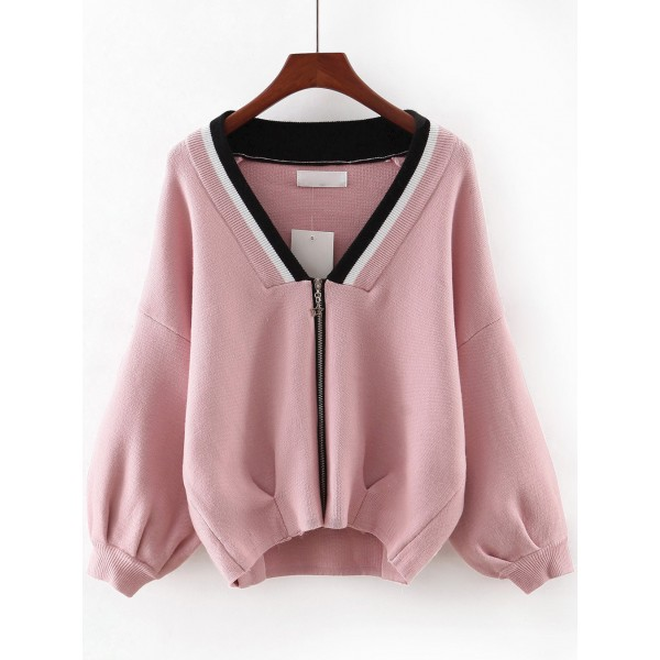 Pink Black Collar V Neck Zipper Winter Sweater