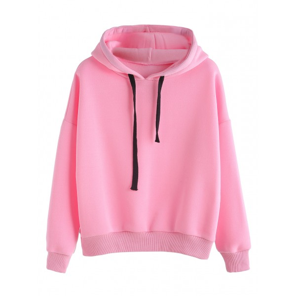 Pink Black Drawstring Hooded Hoodie Sweatshirt