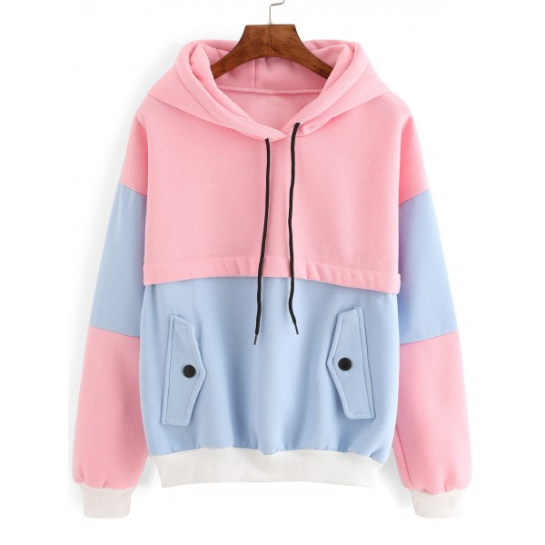 Pink Blue Pastel Color Drawstring Hooded Hoodie Sweatshirt
