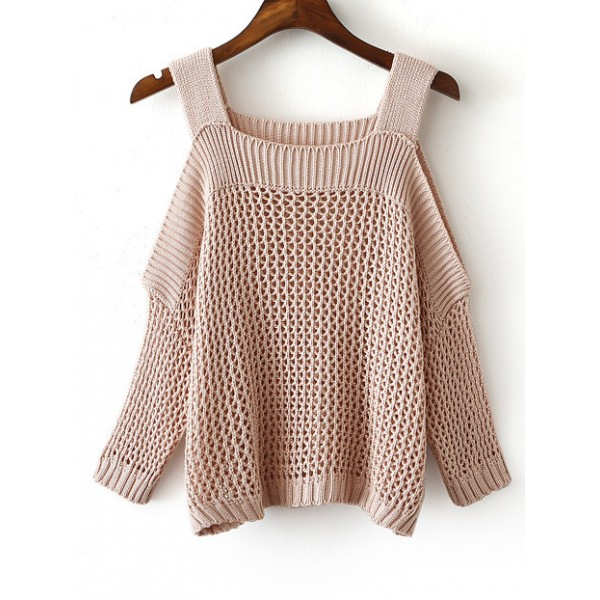 Pink Cold Open Shoulder Gigot Long Sleeves Knitted Sweater