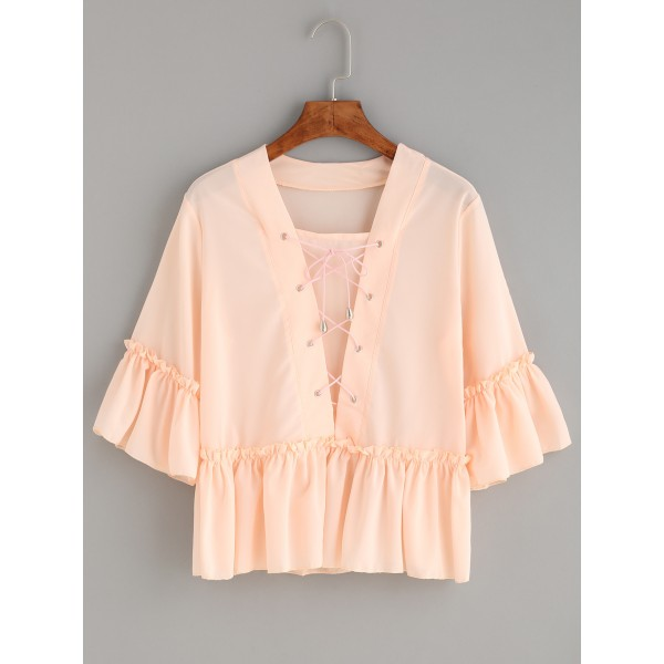 Pink Lace Up Ruffle Short Sleeves Top