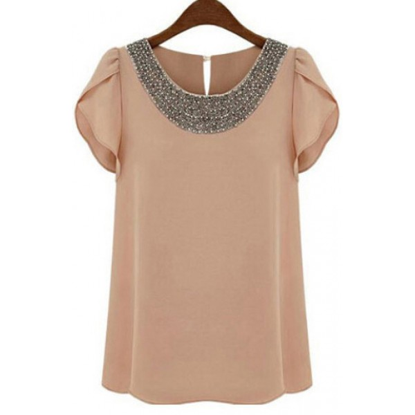 Pink Round Neck Beads Chiffon Top Short Sleeve Blouse