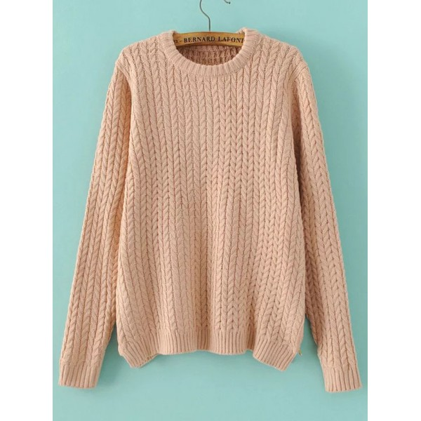 Pink Round Neck Knitted Winter Sweater
