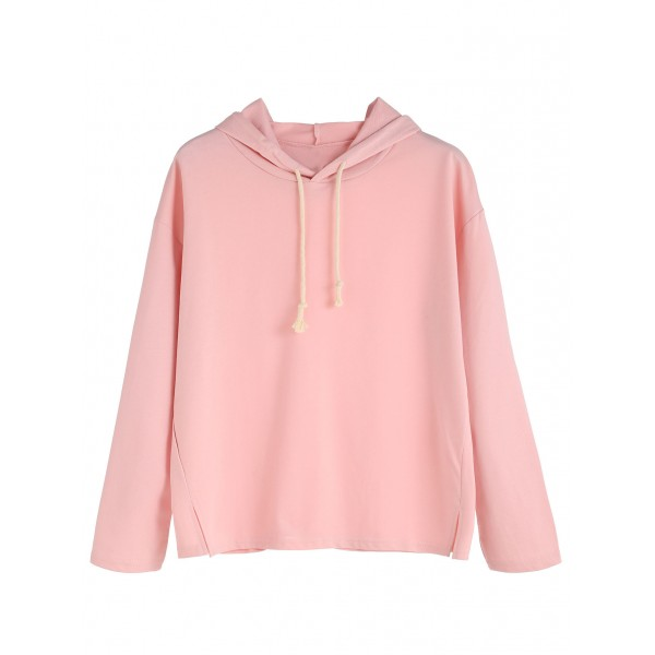 Pink Side Slit Hoodie Hooded Sweatshirt