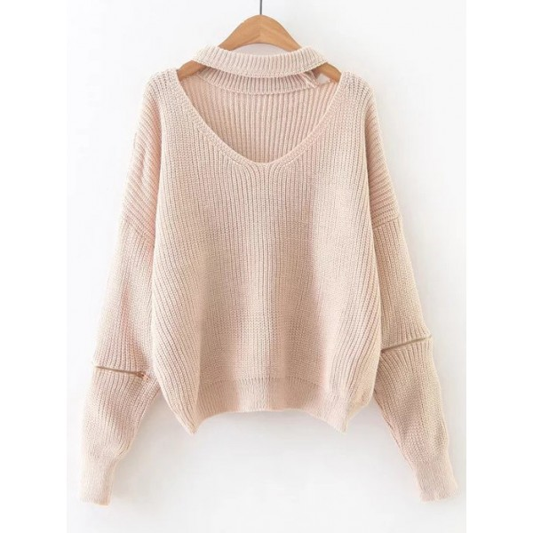 Pink  V Neck Zipper Long Sleeves Winter Sweater