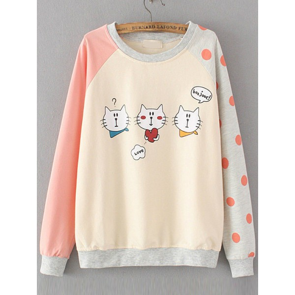 Pink White Cats Cartoon Long Sleeves Polka Dots Sweatshirt