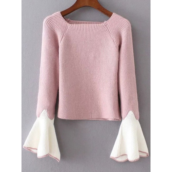 Pink White Wrist Bell Long Sleeves Sweater Knitwear