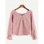 Pink Wide Boat Neck Button Front Long Sleeves Blouse