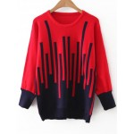 Red Black Graphic Block Round Neck Sweater