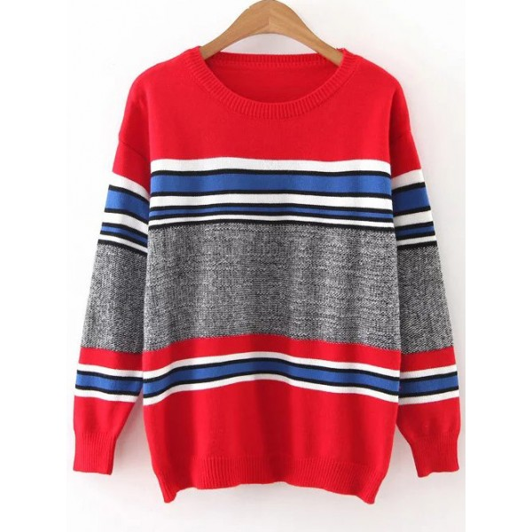 Red Grey Concrete Loose Shoulder Sweater
